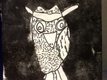 line drawing of an owl